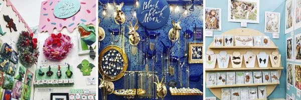 three shops at Blue Genie Art Bazaar