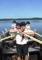 """Members of a bateau crew on Lake Champlain. """"An Army Rows and Marches on its Stomach"""" is one of four """"Fort Fever Series"""" programs at Fort Ticonderoga January through April 2014."""