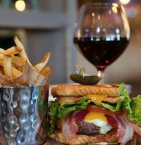 Burger, frites and a glass of red win from B Square Burgers + Booze