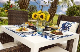Blockade Runner East dining table setting