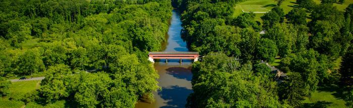 Aerial View of Brandywine Valley Covered Bridge