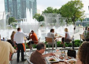 Dining near the Scioto Mile Fountains at Bicentennial Park, Milestone 229