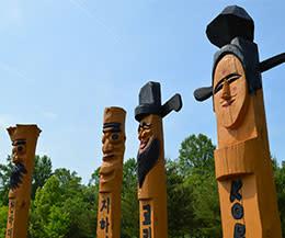Korean Bell Garden: Totem Poles