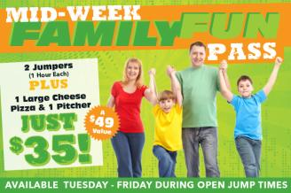 Family Fun Pass Offer @ Rockin' Jump Trampoline Park