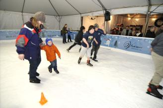 Family skates at Polar Plaza