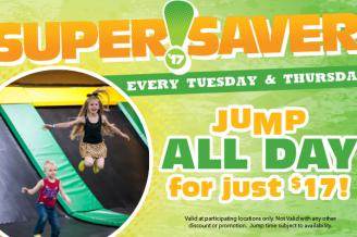 Unlimited Jump Time Every Tues. & Thurs. @ Rockin' Jump Trampoline Park