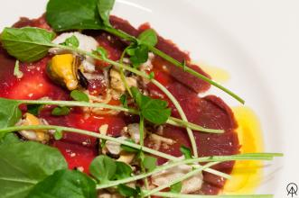 Bison carpaccio RAW:churchill multi-course menu inspired by the diet of the fort inhabitants