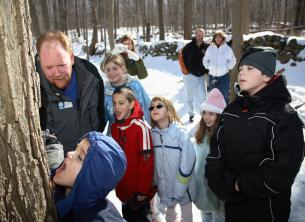 Experience a Maple Sugar Tour at the Hudson Highlands Nature Museum. The festival takes place on Saturday, March 5th from 10:30 a.m. -3 p.m. at the Outdoor Discovery Center. Tours run every weekend through March 27 from 10:30 a.m. – 3 p.m. Photo by George Potanovic, Jr.
