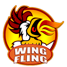 Wing Fling logo - words and screaming chicken
