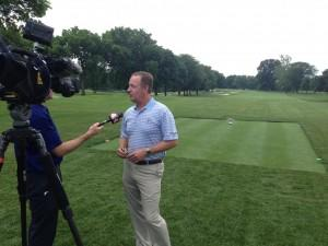 Golf player being interviewed