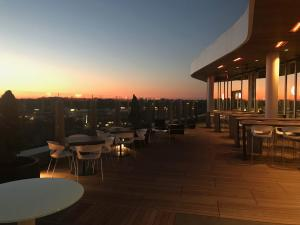 The view from VASO Rooftop Lounge at sunset