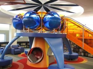 Kids can grab some reading material and climb up to the reading tower at the Children's Department of the Allen County Public Library, Main Branch.