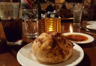 Charbonos signature bread with dipping sauce
