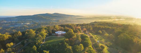 Aerial of Monticello at sunset