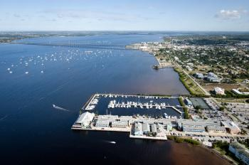 Aerial Punta Gorda w/Fishermen's Village and Boats