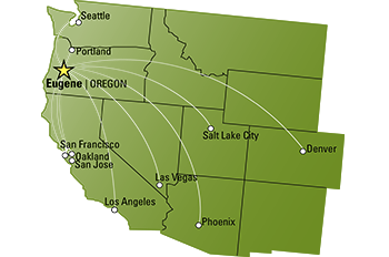 Eugene Airport Flight Map