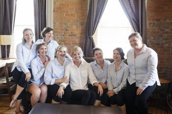 Matching bridesmaids shirts | Erika Brown Photography