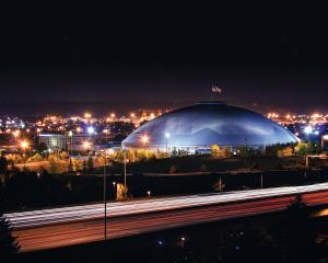 Tacoma Dome at night