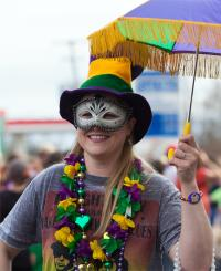 A photo of a Mardi Gras parade attendee.