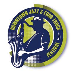 Jazz & Food Trucks logo - silhoutte of musician in fedora with saxaphone