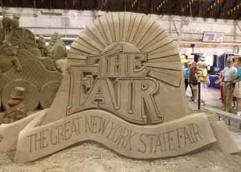 NYS Fair sand sculpture of fair logo