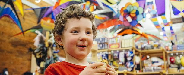 Boy at the Into the Wind Kite Shop Boulder