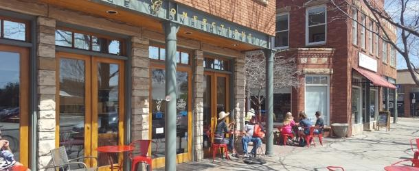 Patrons sitting outside Spruce Confections Boulder