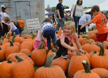 Heartland Apple Festival kids playing on pumpkins