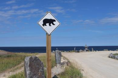 Beware of polar bears near the Inukshuk