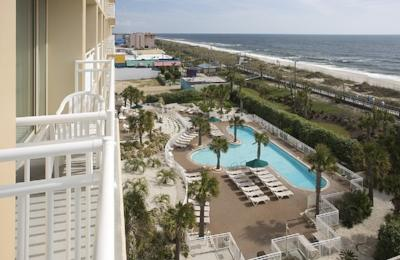 View of the pool from above at the oceanfront Marriott in Carolina Beach