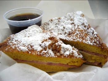 The Morning Cristo Sandwich at Kokomo's Surfside Grill is French toast stuffed with ham and cheese, then deep fried and dusted with powdered sugar. (Photo courtesy of Kokomo's Surfside Grill)