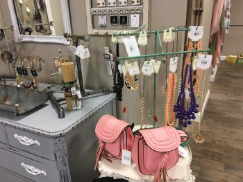 A variety of accessories including jewelry and purses can be found at Sweet M's Boutique.
