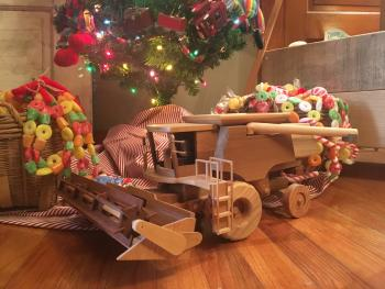 Wooden toy combine at Forget Me Nots