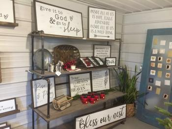 Handcrafted signs featuring scripture, family, song lyrics, quotes, humor, and more can be found at Norelu Designs in Lizton, or you can place a custom order.