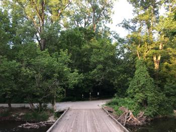 The Story Walk is just over this bridge at Arbuckle Acres.