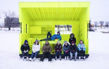 Enjoying a warming hut on the Red River Mutual Trail at the Forks.