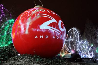 Giant, red ornament at the Columbus Zoo and Aquairum's Wildlights display.