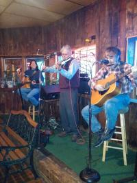 Musicians perform on a stage at Buffalo Bill's in Shortsville