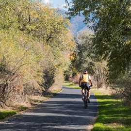 Biking on the Jordan River Parkway, photo by Kyle Jenkins