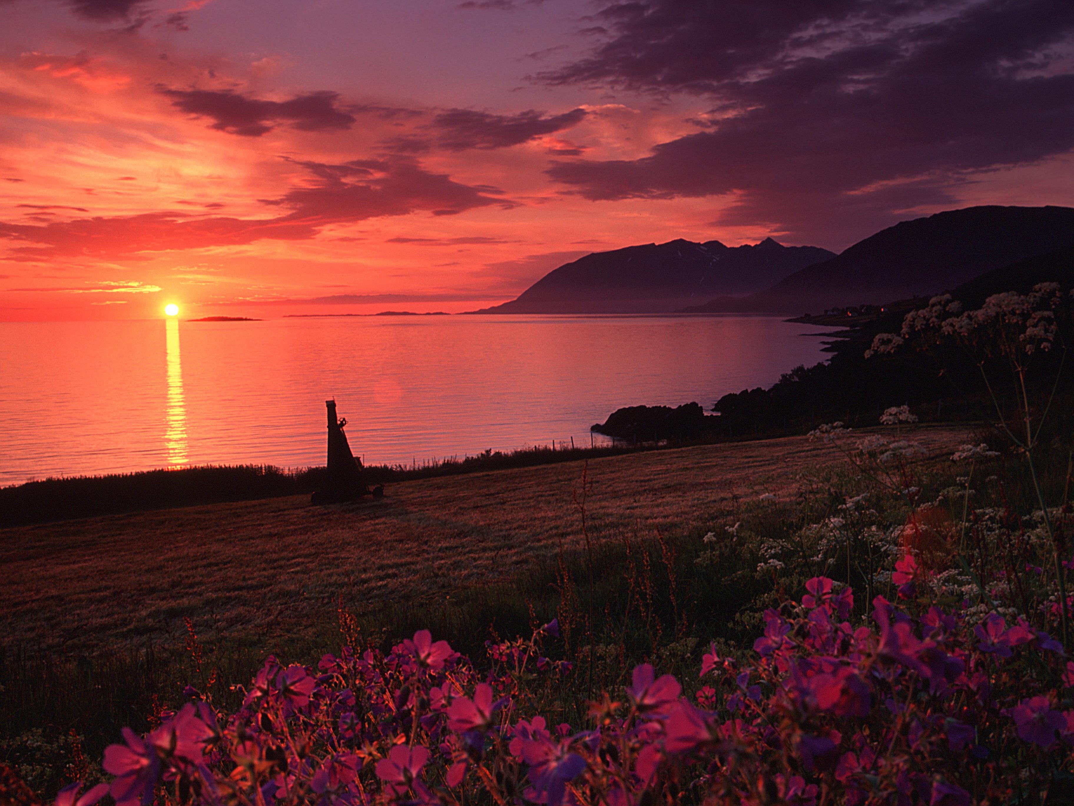 Midnight sun, Harstad. Photo: nettfoto.no