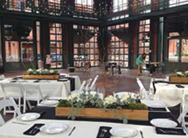 Wedding setup at Waterhouse Pavilion at Miller Plaza
