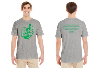 Man in gray t-shirt with Celtic Cocktail Trail logo on front and participating bars and restaurants on back.