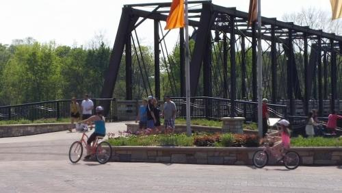 Riding Bikes along the Chippewa River in Phoenix Park in Eau Claire, Wisconsin