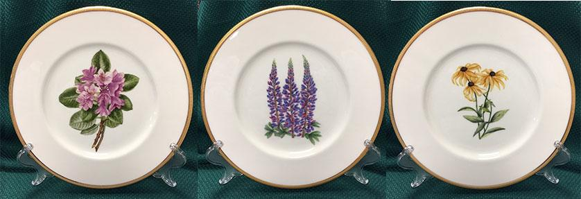 State flowers and trees are featured on the 100 plates in the collection of hand painted porcelain created by Indiana artists that is bound for the collections of the Vice Presidents Residence in Washington, DC.