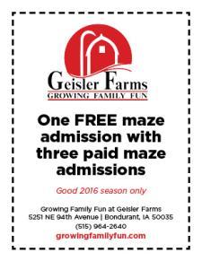 Geisler Farms Fall 2016 Coupon