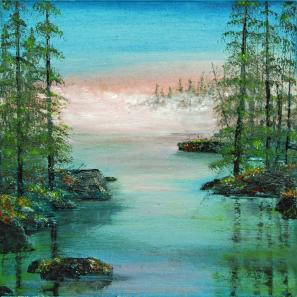 """Vanishing Mists"" acrylic and oil on canvas by Linda Sonnenberg-Jackson."