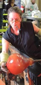 Lisa Pelo glass blowing at Hot Blown Glass