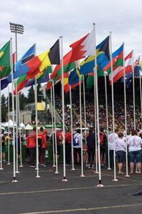 Colorful flags represent the nearly 200 countries that the athletes call home