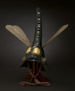Helmet in dragonfly shape, 17th century Iron, lacquer, wood, leather, gilt, pigments, silk, papier-mch The James Ford Bell Foundation Endowment for Art Acquisition and gift of funds from Siri and Bob Marshall  2012.31.1a-c