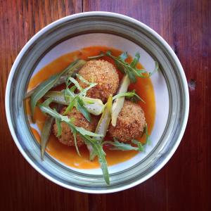Ames chicken croquette arugula pickled okra fermented pepper, Odd Duck.